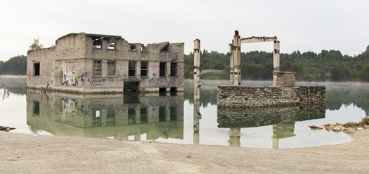Užtvindyti pastatai Rummu kalėjime